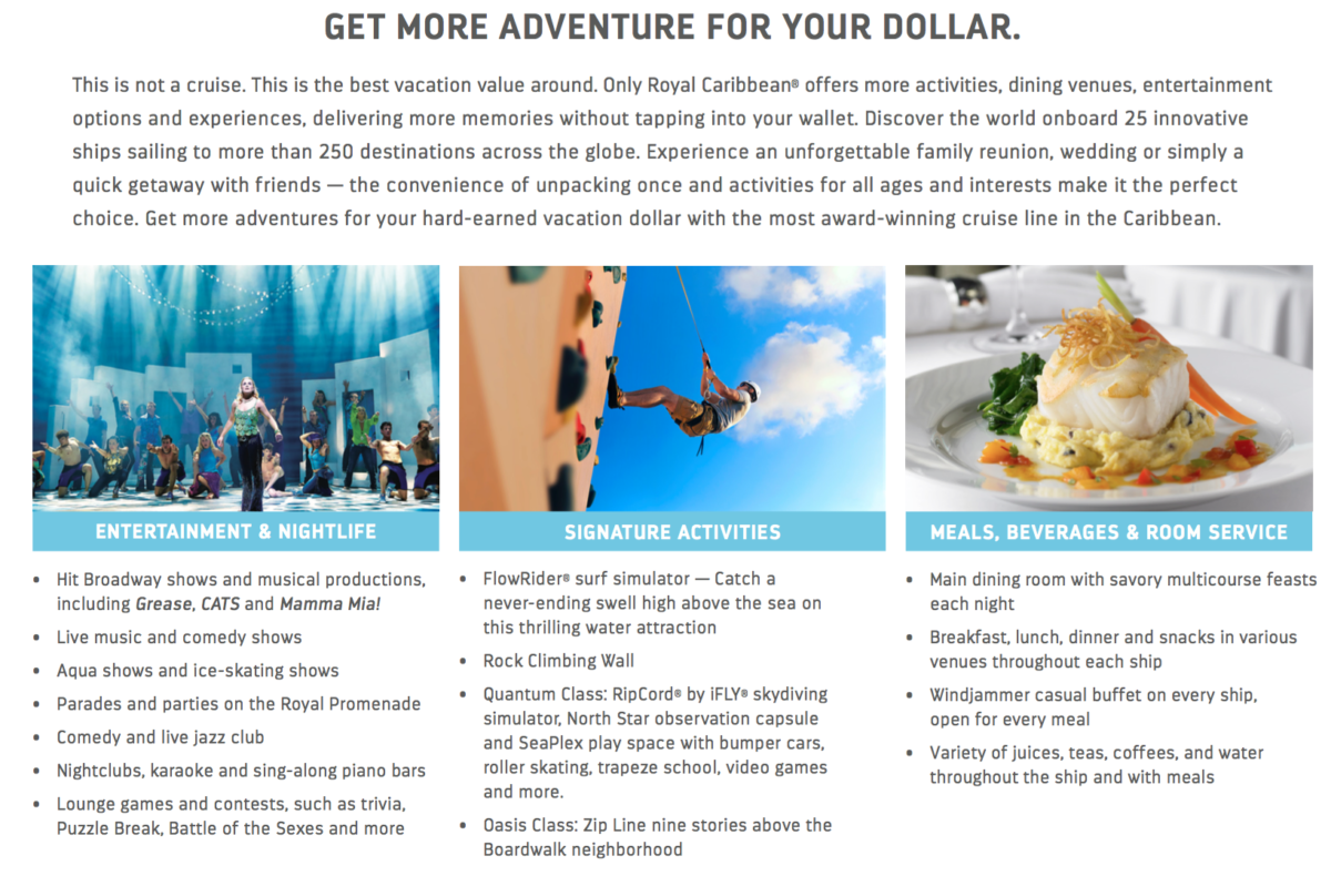 royal caribbean cruise line features